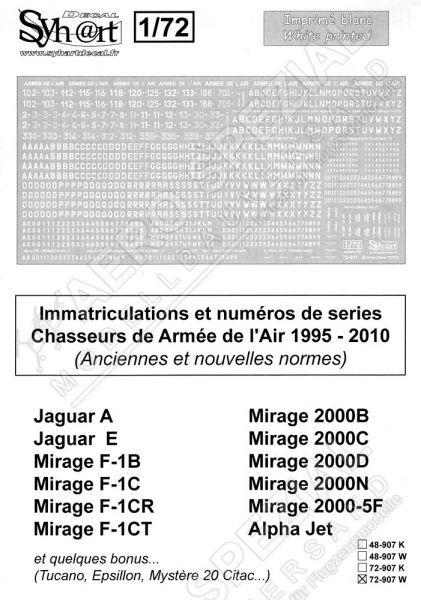 SY72907W Flugzeugcodes der französischen Luftwaffe, 1995-2010 (Weiß)