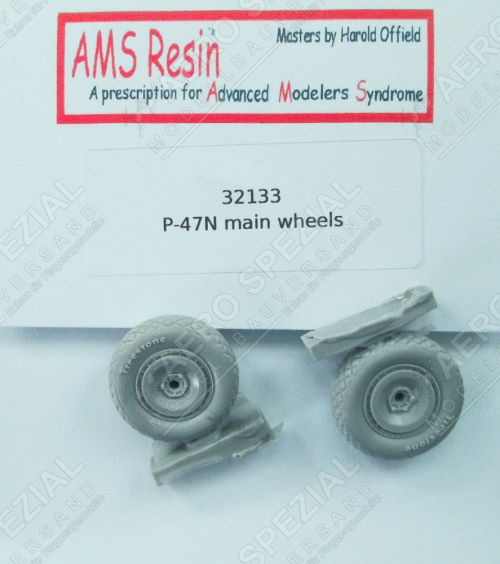 AMS32133 P-47N Thunderbolt Weighted Main Wheels (Diamond Tread)