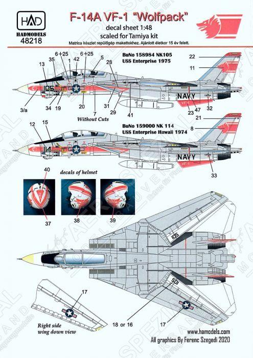 HU48218 F-14A Tomcat VF-1 Wolfpack