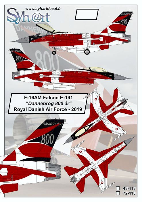 SY72118 F-16AM Block 5-10 Fighting Falcon Dannebrog 800 Years