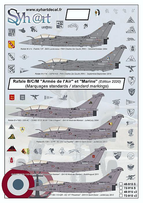 SY72915V2 Rafale B/C/M Standard Markings French Air Force and Navy