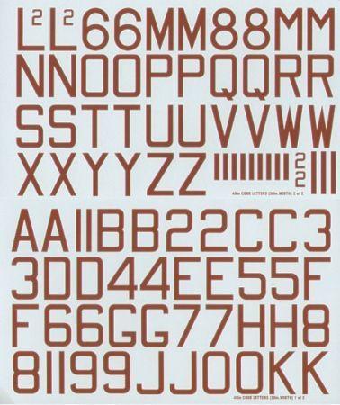 XD48048 Buchstaben und Ziffern in Rot