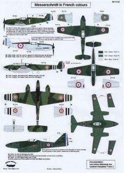 BD72082 Bf 109 E-1, Bf 109 E-3, Bf 110 C & Me 262 A-1a mit französischen Markierungen