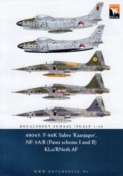 DD48045 F-86K Sabre & NF-5A/B Freedom Fighter, niederländische Luftwaffe
