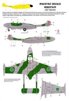 MMD7209 J 33 Venom schwedische Luftwaffe