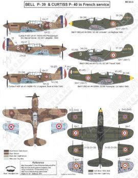 BD32034 P-39Q Airacobra & P-40F Warhawk französische Luftwaffe