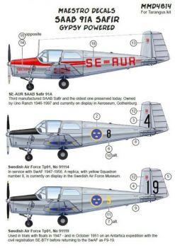 MMD4814 Saab 91A Safir/Tp 91 zivil & schwedische Luftwaffe