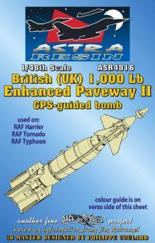 ASR4816 RAF 1.000 lb Enhanced Paveway II GPS-gelenkte Bombe