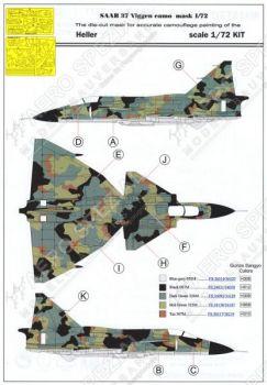 MMK7271 Saab 37 Viggen Maskierfolie für Splittertarnung