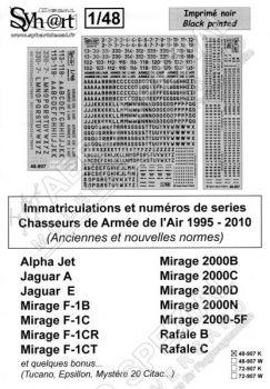SY48907K Flugzeugcodes der französischen Luftwaffe, 1995-2010 (Schwarz & Grau)