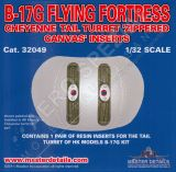 MD32049 B-17G Flying Fortress Zippered Canvas Inserts for Tail Turret
