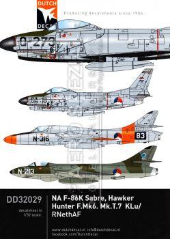 DD32029 F-86K Sabre, Hunter F.6 & Hunter T.7, niederländische Luftwaffe