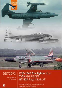 DD72093 F/TF-104G Starfighter, T/RT-33A Shooting Star, niederländische Luftwaffe & USAFE