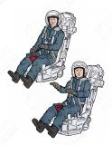 AB32156 Soviet Pilot and Trainer Pilot Soviet Air Force in K-36 Ejection Seats