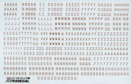XD48049 Buchstaben und Ziffern in Dunkelrot