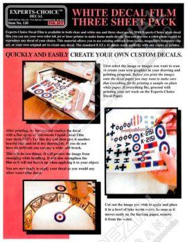 EXP120 White Decal Film for Inkjet Printer (Three Sheet Pack)