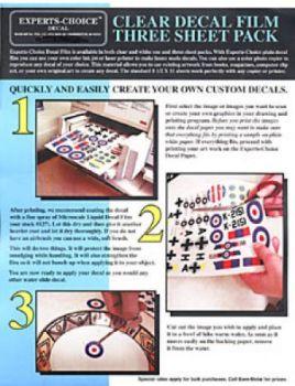 EXP123 Abziehbilderbogen farblos für Laserdrucker (3 Stück)