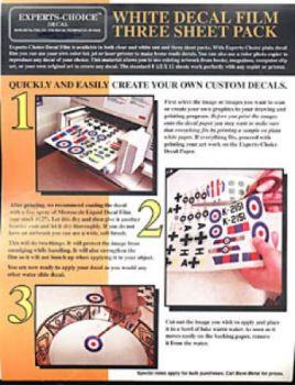 EXP125 Abziehbilderbogen weiß für Laserdrucker (3 Stück)
