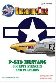 BCD32010 P-51D Mustang Cockpitbeschriftungen und -schilder