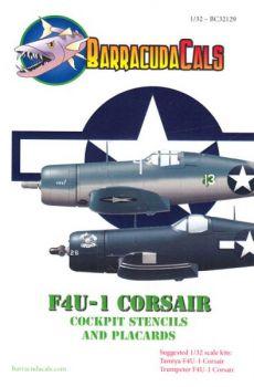 BCD32129 F4U-1 Corsair Cockpitbeschriftungen und -schilder