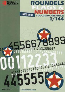 BM4401 Kokarden, Leitwerkflaggen und Ziffern 0-9 jugoslawische Luftwaffe