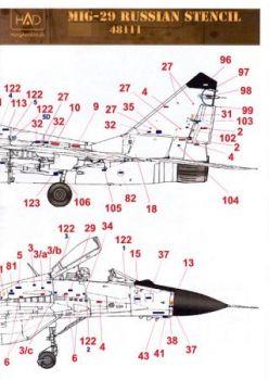 HU48111 MiG-29B/UB Fulcrum-A/B russische Stencils